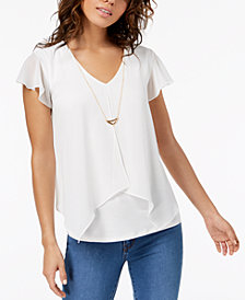 BCX Juniors' Handkerchief-Hem Necklace Top