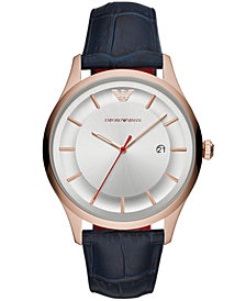 Emporio Armani Men's Blue Leather Strap Watch 43mm