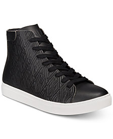 A|X Armani Exchange Men's Leather-Effect Printed High-Top Sneakers