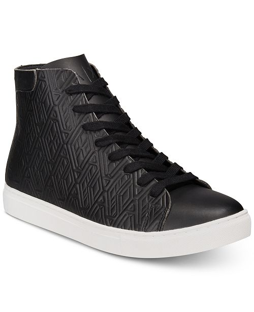 Armani AX Men's Leather-Effect Printed High-Top Sneakers Men's Shoes