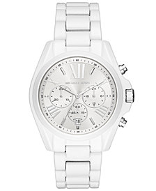 Michael Kors Women's Chronograph Bradshaw White Stainless Steel Bracelet Watch 42mm