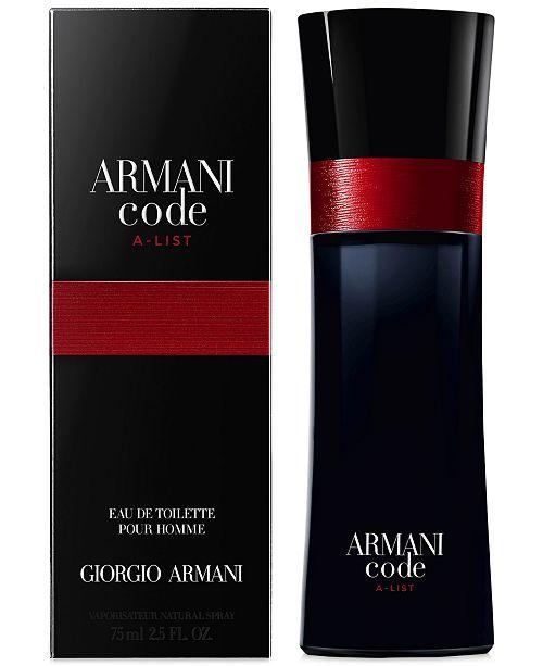 Giorgio Armani Mens Armani Code A List Eau De Toilette Spray 25