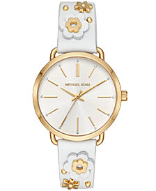 Michael Kors Women's Portia White Leather Floral Strap Watch 37mm