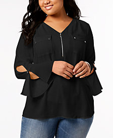 NY Collection Plus Size Bell-Sleeve Utility Shirt