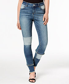 I.N.C. Curvy-Fit Patchwork Skinny Jeans, Created for Macy's