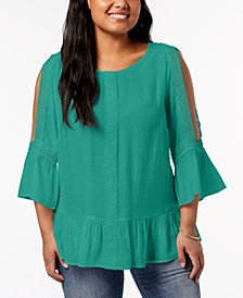 NY Collection Plus Size Crochet-Trim Cold-Shoulder Top