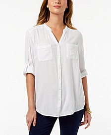 Roll-Tab Button-Down Top, Created for Macy's