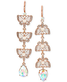 Betsey Johnson Rose Gold-Tone Crystal & Imitation Pearl Butterfly Mismatch Earrings