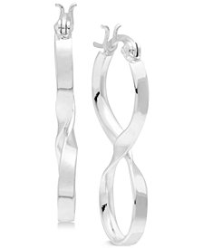 Essentials Medium Infinity Twist Hoop Earrings in Fine Silver-Plate