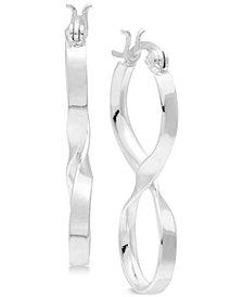 Essentials Medium Infinity Twist Hoop Earrings in Fine Silver-Plate