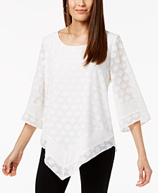 Alfani Petite Textured V-Hem Top, Created for Macy's