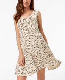 Style & Co Printed V-Neck A-Line Dress, Created for Macy's