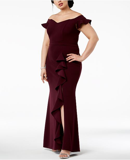 Betsy Size Plus The Adam Plum Ruffled Off Gown Shoulder amp; wrtEZqxr