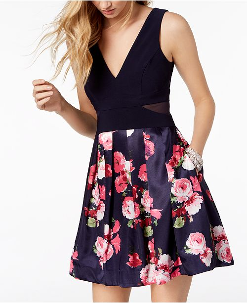 Dress Print Floral amp; Solid Flare XSCAPE Pink Fit amp; Navy w6Px0a