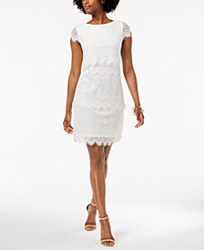 Donna Ricco Tiered Lace Sheath Dress
