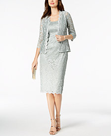 Alex Evenings Lace Midi Dress & Jacket, Missy Sizes