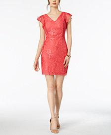 kensie Flutter-Sleeve Lace Sheath Dress