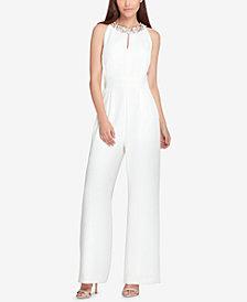 Tahari Embellished Crepe Jumpsuit