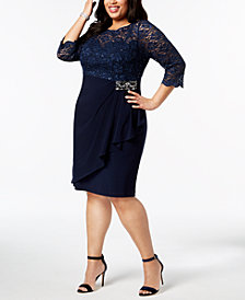 Alex Evenings Plus-Size Embellished Lace-Bodice Dress