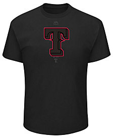 Majestic Men's Texas Rangers Pitch Black Focus T-Shirt