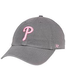'47 Brand Philadelphia Phillies Dark Gray Pink CLEAN UP Cap