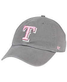 '47 Brand Texas Rangers Dark Gray Pink CLEAN UP Cap
