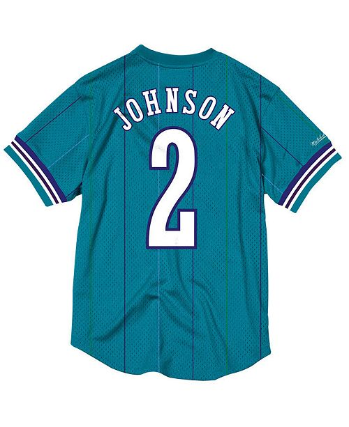 f80964ffb Mitchell   Ness Men s Larry Johnson Charlotte Hornets Name and Number Mesh  Crewneck Jersey ...