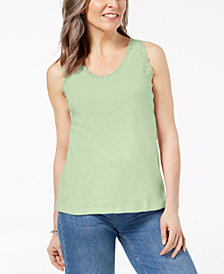 Karen Scott Lace-Trim Tank Top In Regular & Petite Sizes, Created  for Macy's