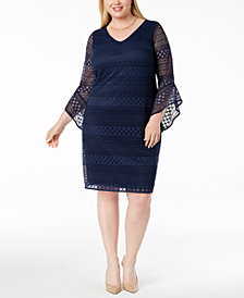 Alfani Plus Size Lace Shift Dress, Created for Macy's