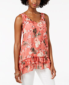 Style & Co Tiered Handkerchief-Hem Top, Created for Macy's