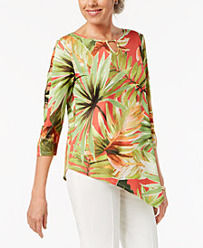 Alfred Dunner Petite Leaf-Print Asymmetrical Top
