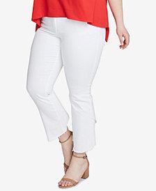 RACHEL Rachel Roy Trendy Plus Size Cropped White Jeans