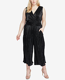 RACHEL Rachel Roy Trendy Plus Size Metallic Pleated Jumpsuit