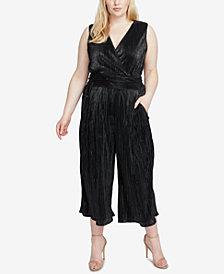RACHEL Rachel Roy Trendy Plus Size Metallic Pleated Jumpsuit