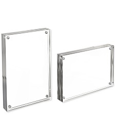 "Acrylic 5"" x 7"" Double-Sided Magnetic Block 2-Pc. Frame Photo/Art Display Set"