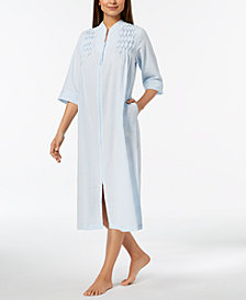 Miss Elaine Petite Embroidered Seersucker Zip Robe