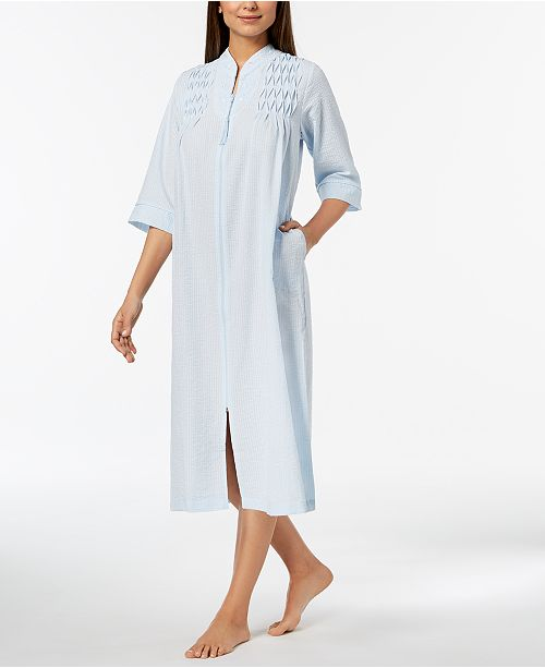 3522b93610e Miss Elaine Petite Embroidered Seersucker Zip Robe   Reviews ...