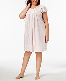 Miss Elaine Plus Size Knit Picot-Trim Nightgown