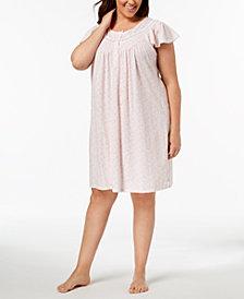 Miss Elaine Plus Size Knit Picot-Trim Nightgown