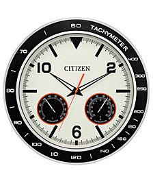 Citizen Outdoor Black & Silver-Tone Wall Clock