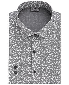 Kenneth Cole Reaction Men's Techni-Cole Slim-Fit Flex Collar Three-Way Stretch Performance Gray Print Dress Shirt