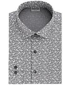 Kenneth Cole Reaction Men's Techni-Cole Slim-Fit Flex Collar Three-Way Stretch Performance Gray Print Dress Shirt