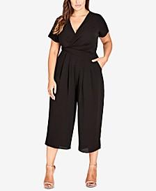 Trendy Plus Size Surplice Neckline Cropped Jumpsuit