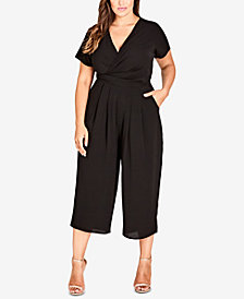City Chic Trendy Plus Size Surplice Neckline Cropped Jumpsuit