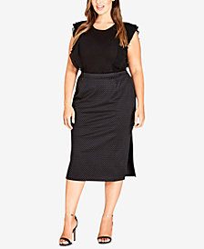 City Chic Trendy Plus Size Polka-Dot Bodycon Skirt