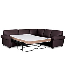 """Orid 2-Pc. Leather """"L""""-Shaped Full Sleeper Sectional Sofa, Created for Macy's"""