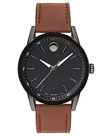Men's Swiss Museum Sport Cognac Leather Strap Watch 42mm