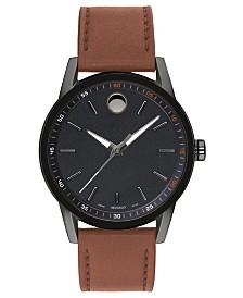 Movado Men's Swiss Museum Sport Cognac Leather Strap Watch 42mm