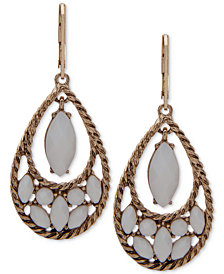 Anne Klein Gold-Tone Stone Orbital Drop Earrings