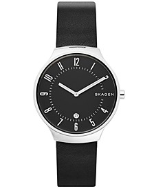 Men's Grenen Black Leather Strap Watch 38mm
